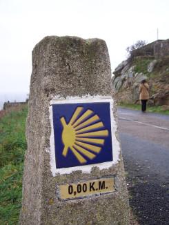 Route marker along the Camino Santiago de Compostela