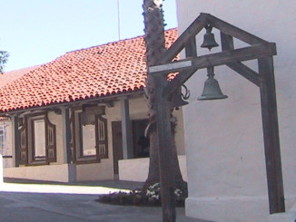 Original mission bells hang just outside the chapel.