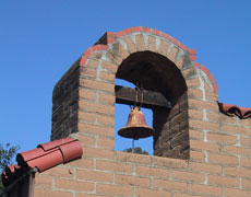The campanario, or bell wall, was rebuilt in 1936.
