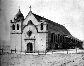 Historic photo of Church at San Carlos mission, circa 1913