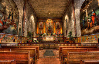 Mission Santa Barbara chapel interior.  Photo by Kevin Cole.